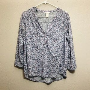 H&M Floral Pink Blue White Vented Flowy Top